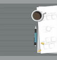 paper with pen coffee on the table vector image