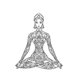 Yoga lotus position meditation zentangle vector image
