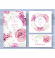 peony invitations set vector image vector image