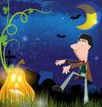 Evil zombie and jack o lantern vector image