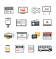 advertising media icon flat design vector image vector image
