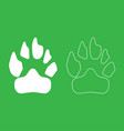 animal footprint icon white color vector image