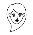 monochrome contour of smiling woman face with long vector image
