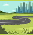 summer green landscape with road and city vector image