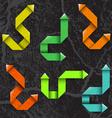 Textured color origami arrows vector image