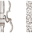 Violin or bass and music notes vector image