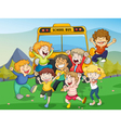 Kids and school bus vector image