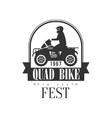Quad Bike Fest Label Design Black And White vector image