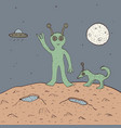 green alien with dog vector image