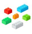 isometric plastic building blocks with shadow vector image