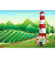 A family at the farm with a high tower vector image vector image