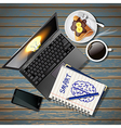 laptop and phone with book and coffee and crepe vector image