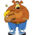 cartoon bear with honey vector image vector image