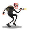a balding thief in a mask with a flashlight on a vector image