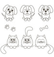 cat and dog icons isolated on white vector image