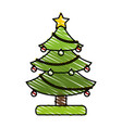 colorful crayon silhouette of decorated christmas vector image