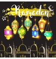Mosque and ink inscription Ramadan vector image