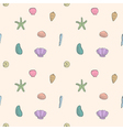 Seamless Pattern of sea shells and starfish vector image