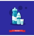 Sparkling water bottle glass and sports tumbler vector image