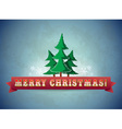Vintage blue christmas greeting card with trees vector image