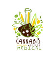 medical cannabis label original design logo vector image
