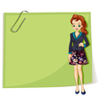 A young business girl in front of the empty vector image vector image