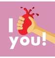 Unusual creative valentine card Heart is in an arm vector image vector image