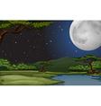 Nature scene on fullmoon night vector image vector image