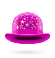 Magenta starred bowler hat vector image vector image