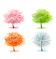 Four stylized trees representing different seasons vector image