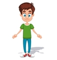 Cartoon young man character with open arms in the vector image