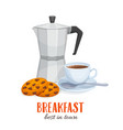 coffee pot and coffee cup with biscuits vector image