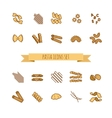 icons set of various pasta shapes vector image