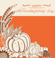 Thanksgiving day card with pumpkins and decoration vector image