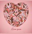 floral doodle etnic pattern heart frame pastel vector image