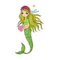beautiful little mermaid siren sea theme vector image vector image