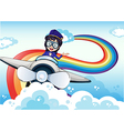 A female pilot driving the plane and a rainbow in vector image