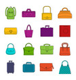 bag baggage suitcase icons doodle set vector image