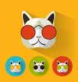 cat portrait with flat design vector image