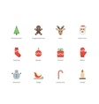 Christmas and New Year color icons on white vector image