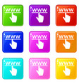 hand cursor and website icons 9 set vector image