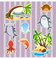 sticker design island and fish vector image