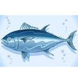 Tuna Watercolor Underwater World vector image