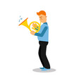 young musician playing french horn cartoon vector image