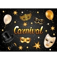 Carnival invitation card with gold masks and vector image