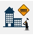 under construction worker hammer tool vector image