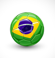Soccer ball with brazil flag vector image vector image