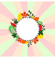 Background Card with different leaves around circl vector image
