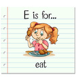 Flashcard letter E is for eat vector image