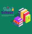 back to school poster with pile of books vector image